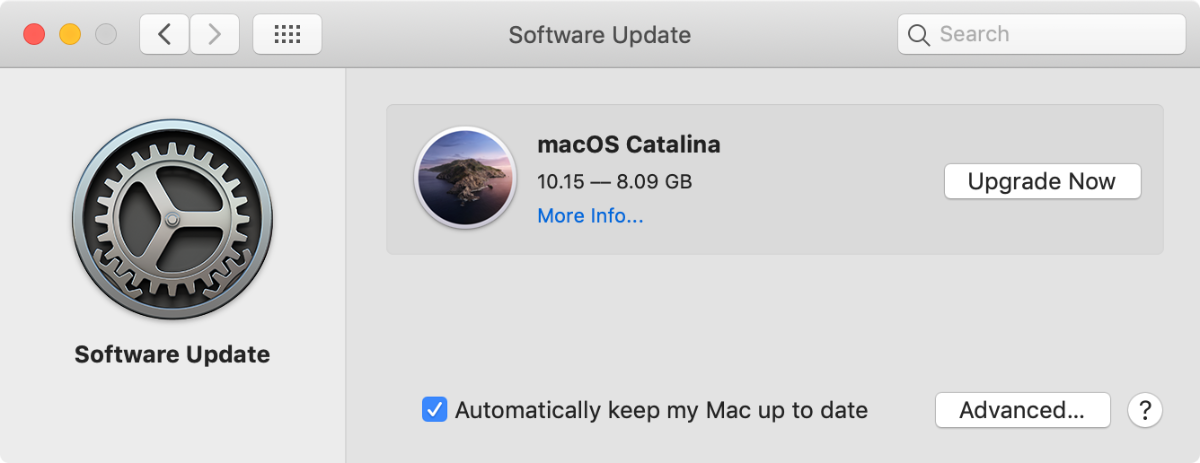 screenshot of macOS catalina