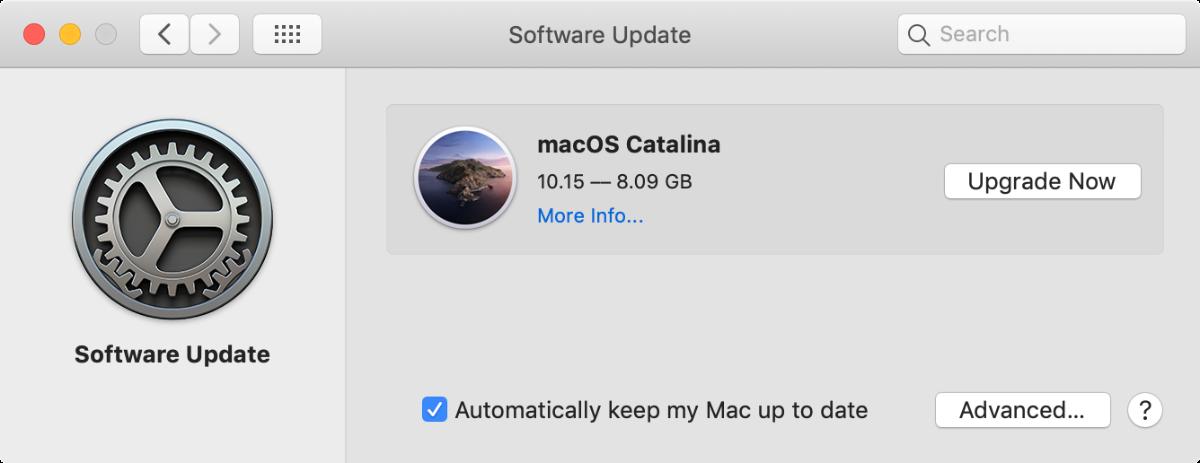 screenshot of macOS catalina