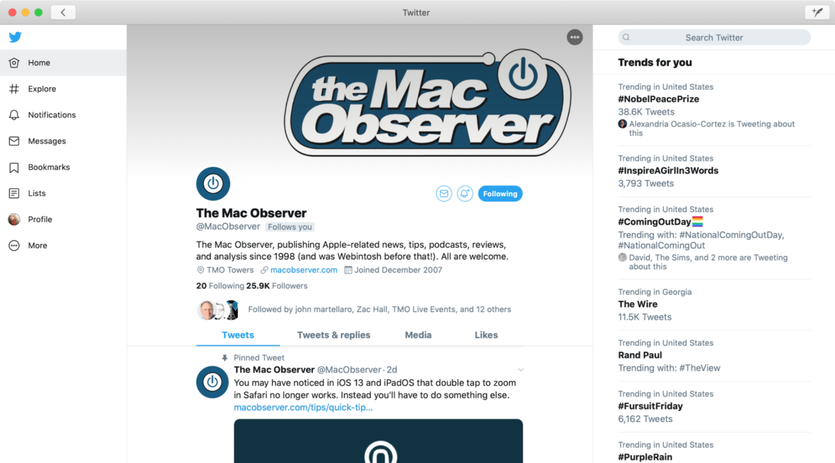 twitter for mac using catalyst
