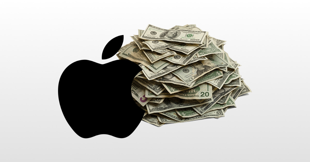 Apple logo with a pile of cash