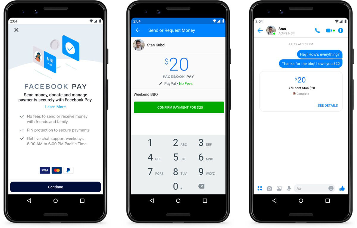 Screenshots of Facebook pay