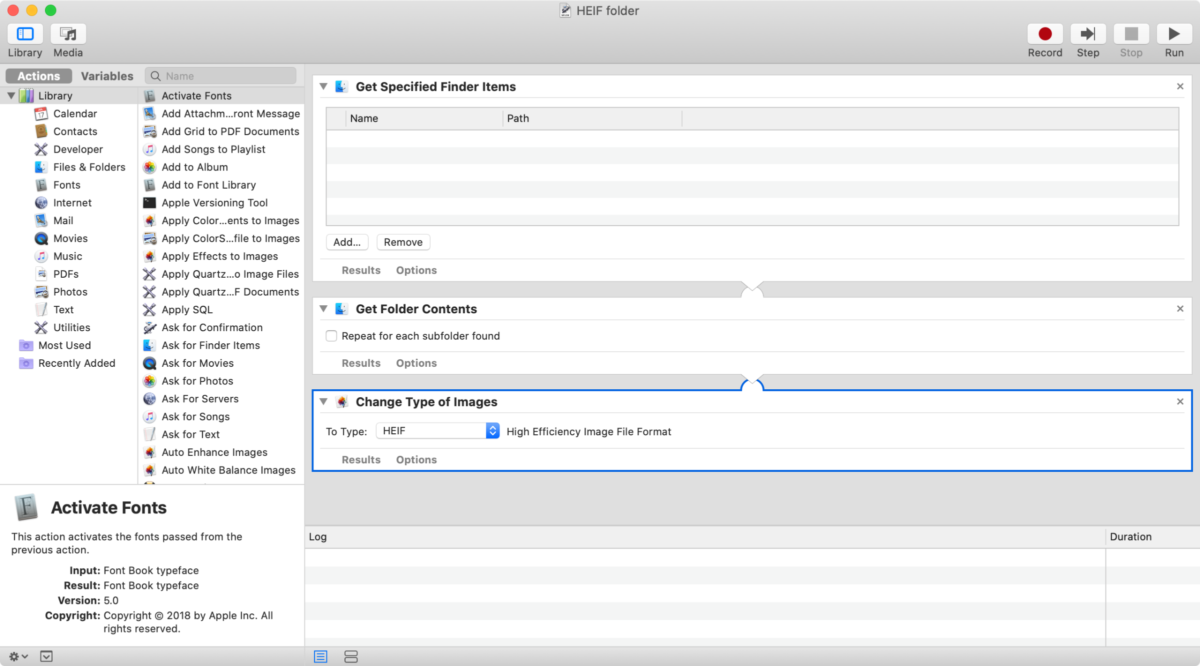 converting photos to HEIF in automator