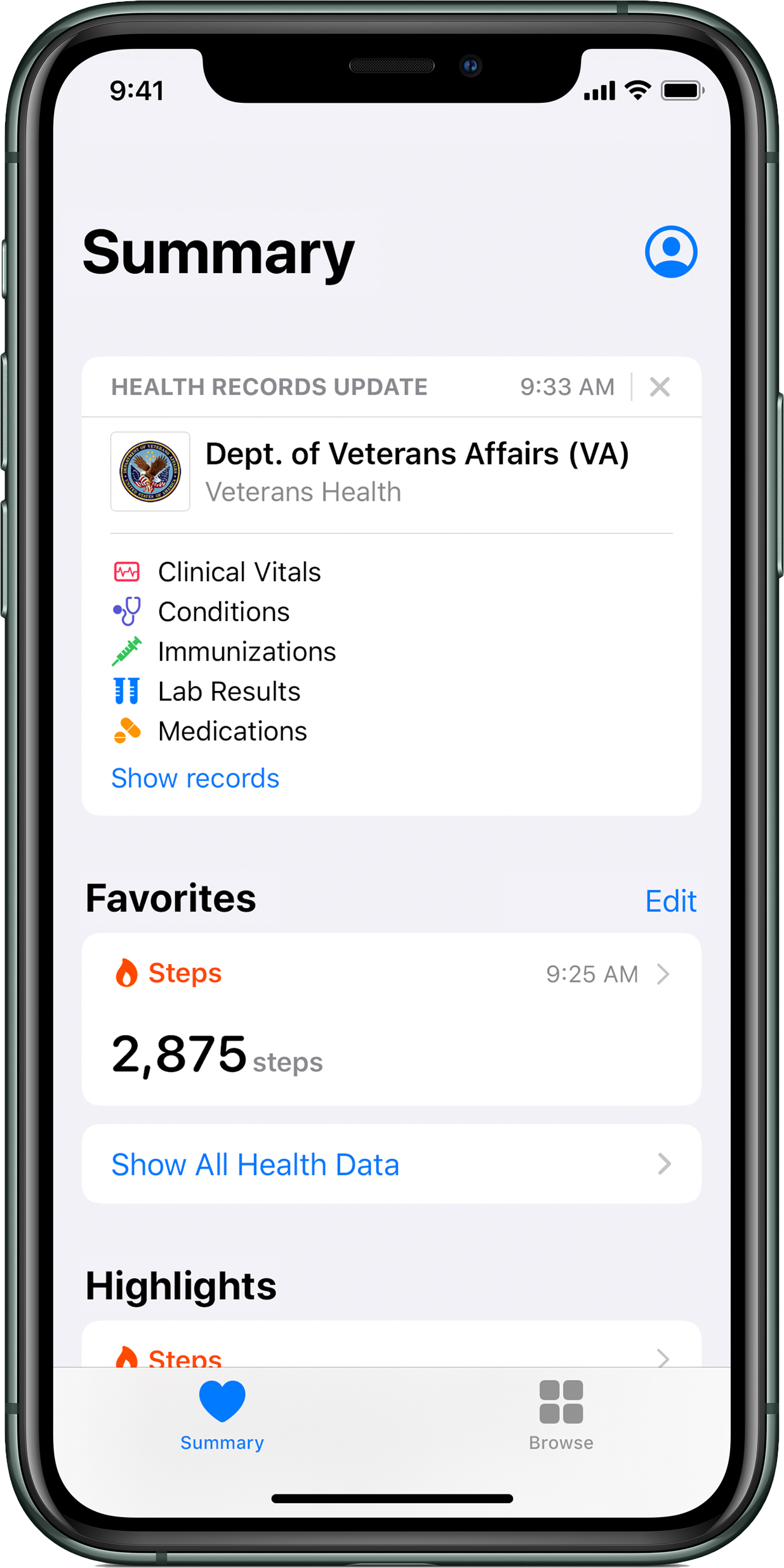 apple health records for veterans