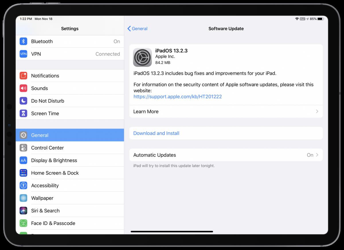 Screenshot of iPadOS 13.2.3 iOS 13.2.3