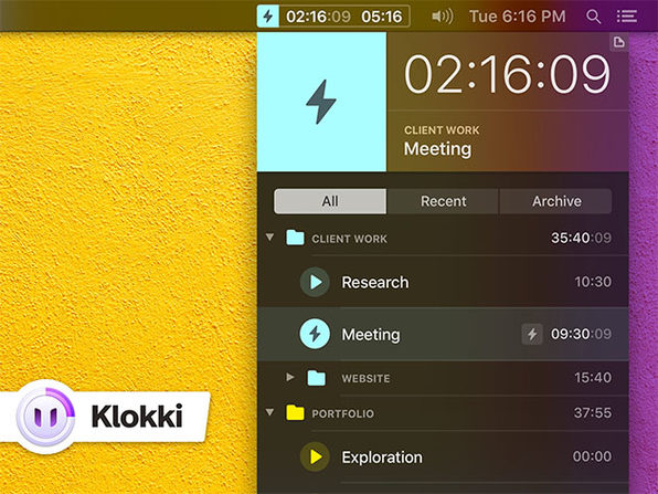 Klokki Automatic Time Tracking Tool for Mac: $12.74