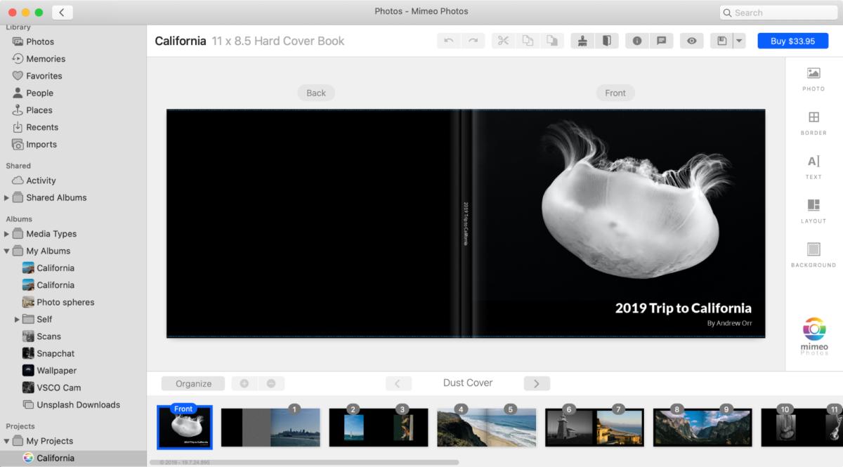 screenshot of mimeo photos for mac photo printing