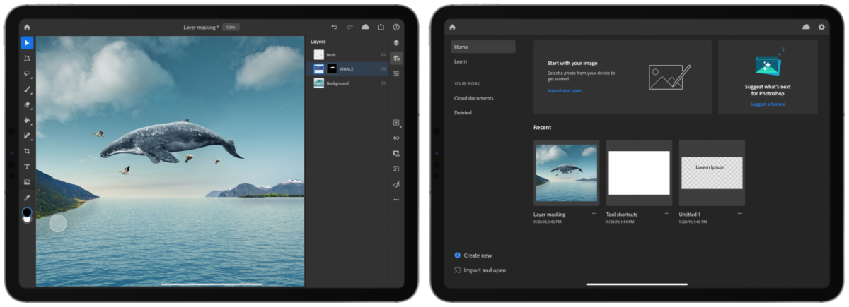 Photoshop for iPad screenshots