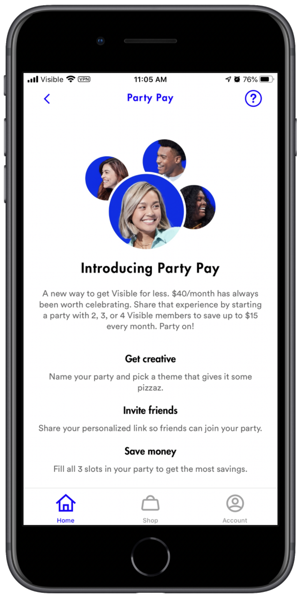screenshot of visible party pay