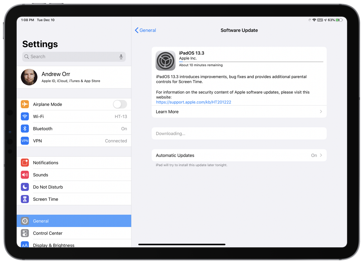 iOS 13.3 screenshot