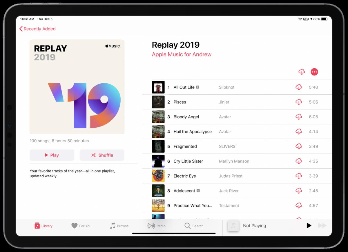 2019 apple music replay screenshot