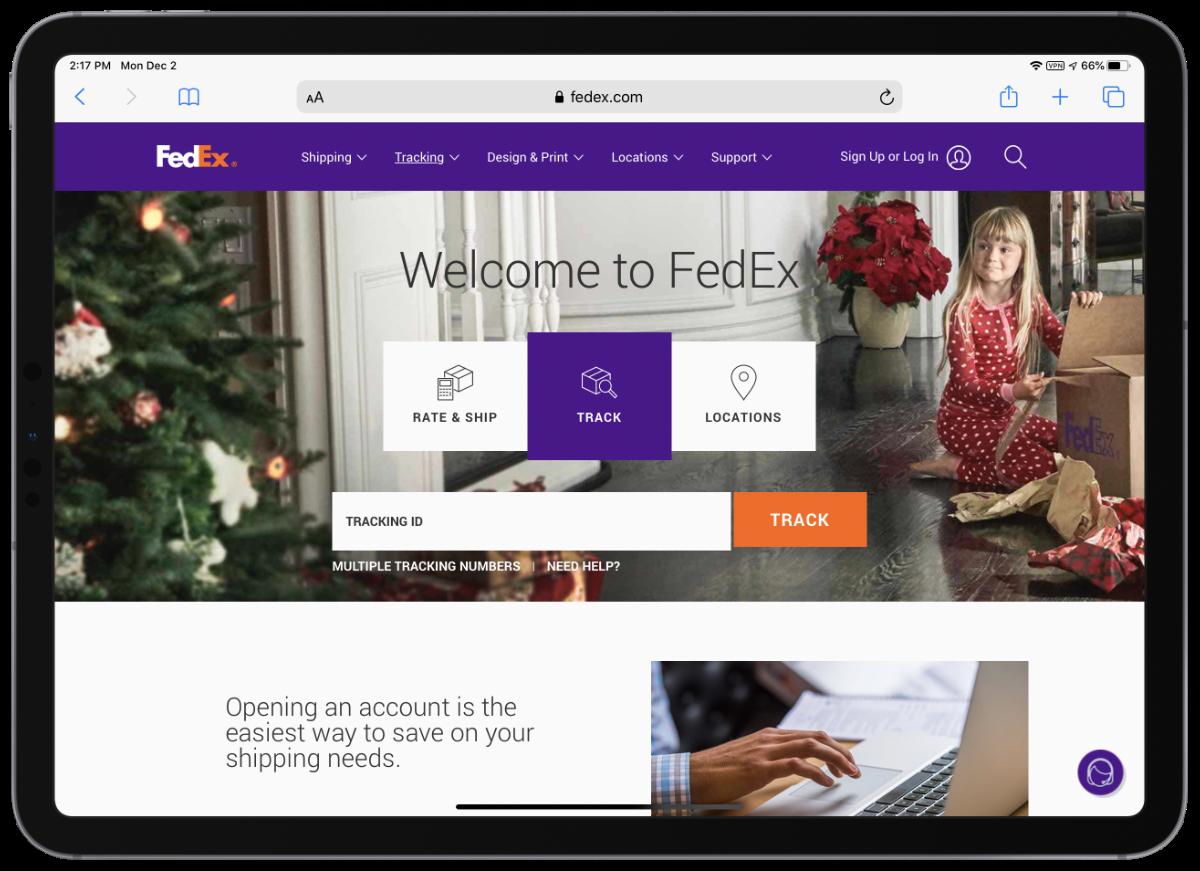 FedEx package tracking screenshot