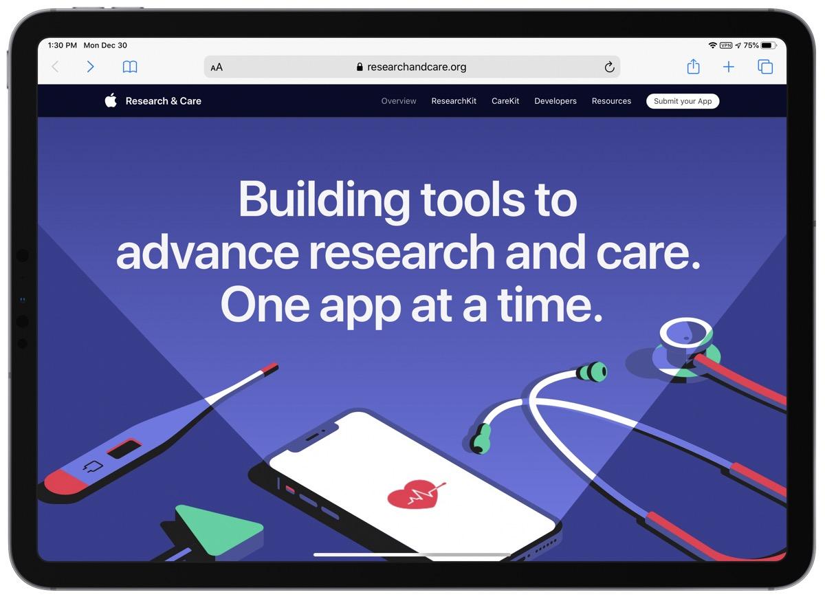 Screenshot of new apple health website