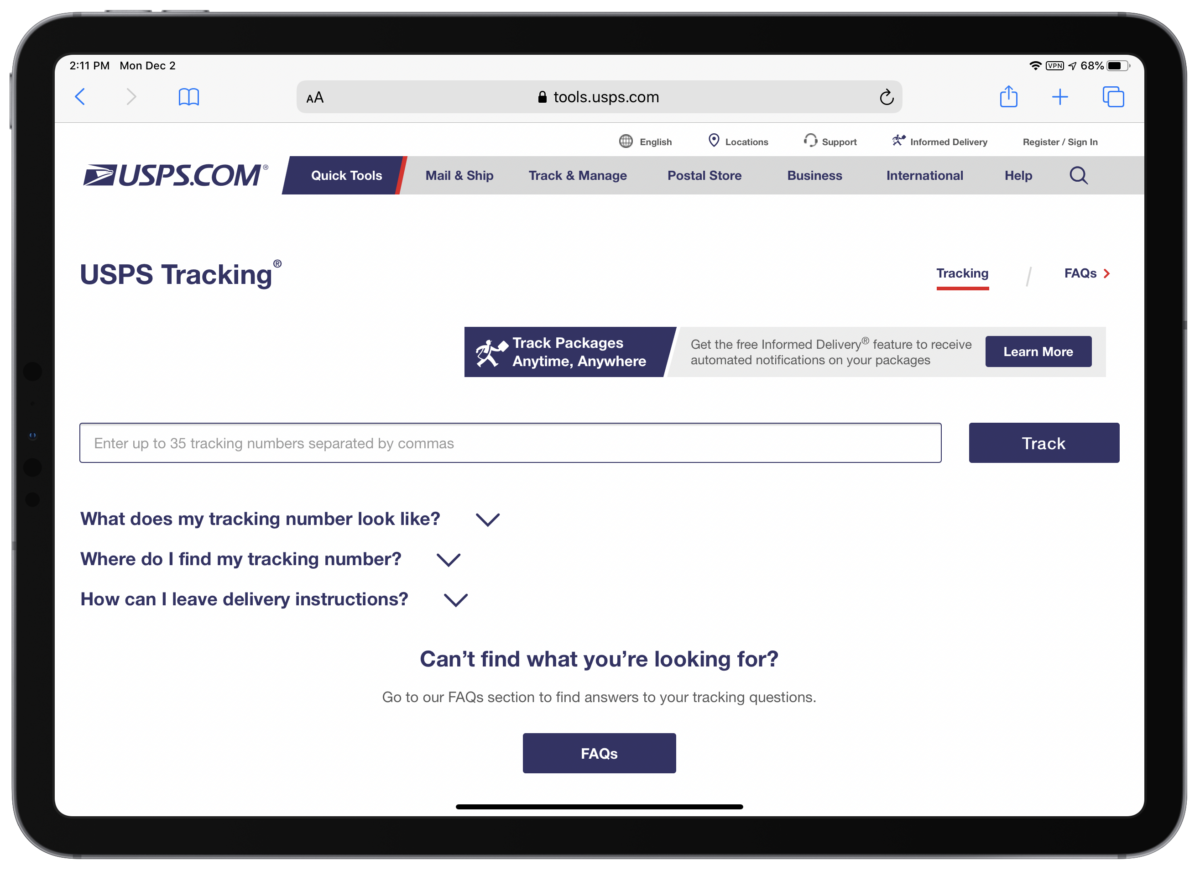 track Christmas packages With USPS