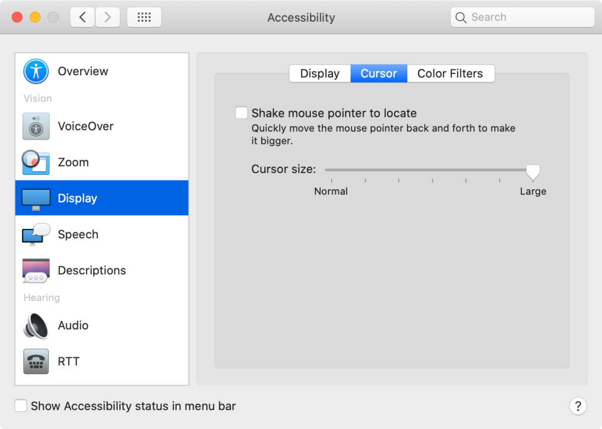 make the cursor bigger in system preferences