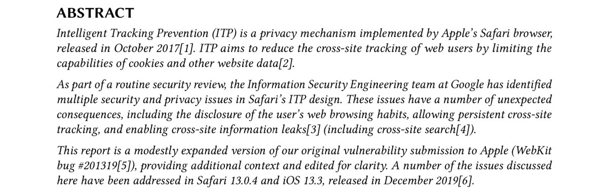 PDF screenshot of Intelligent Tracking Prevention flaws