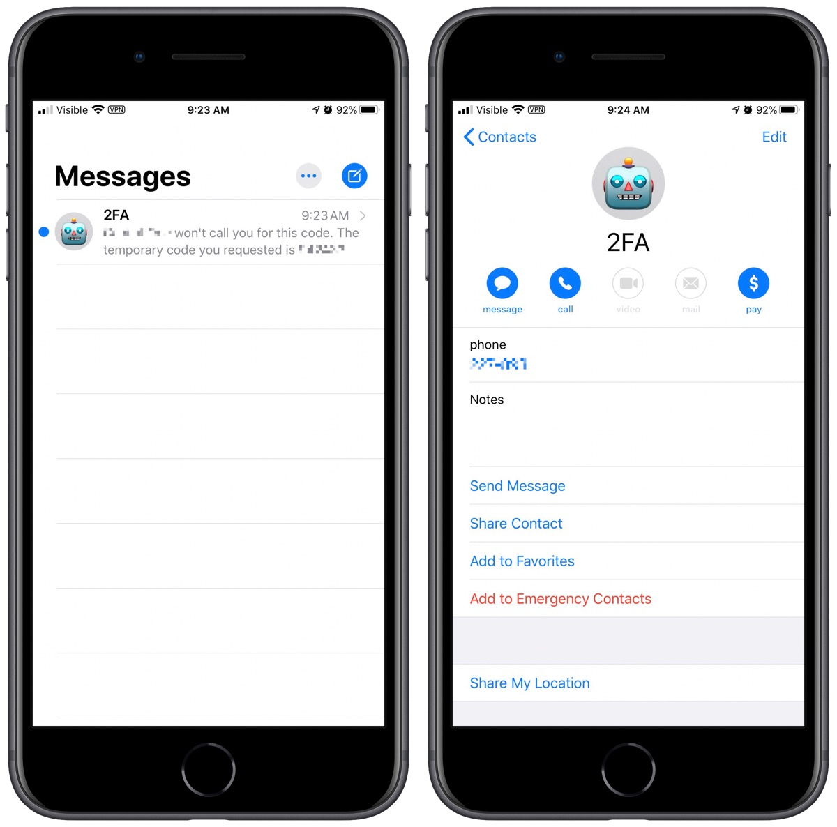 Manage sms two-factor authentication codes