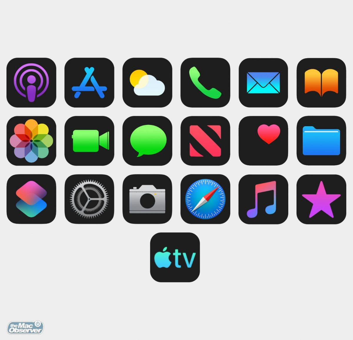 Dark mode icons mockup