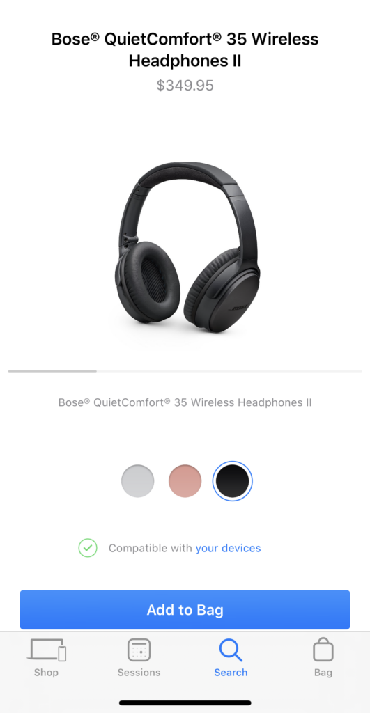 Bose Quiet Comfort at Apple Store