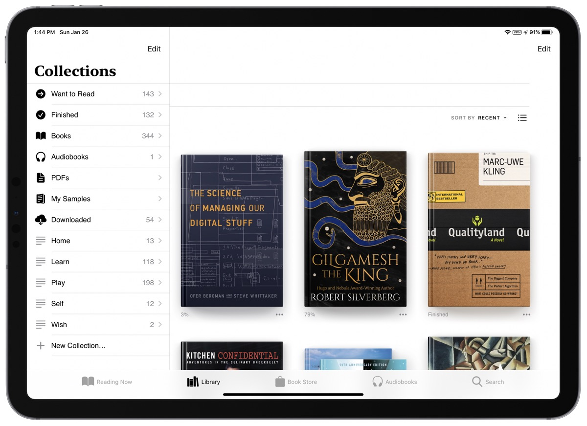 screenshot of personal information management in books