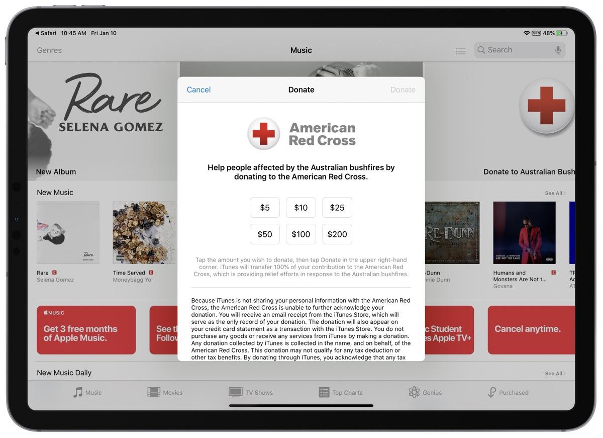 Australian fires donation screenshot