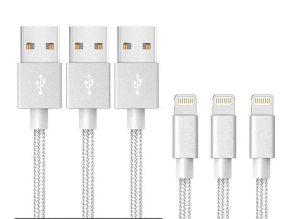 10-Foot MFi-Certified Braided Lightning Cables 3-Pack: $15