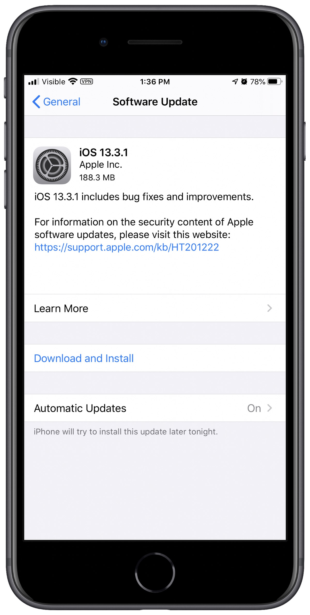 Screenshot of iOS 13.3.1 update
