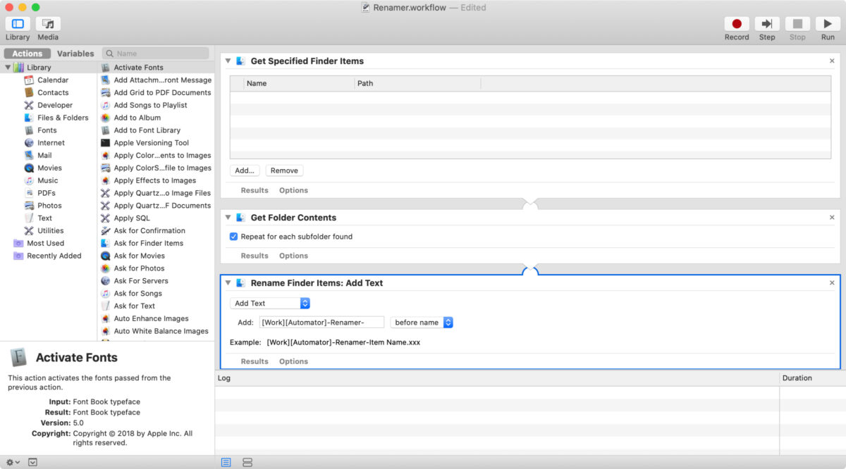 Screenshot of personal information management workflow