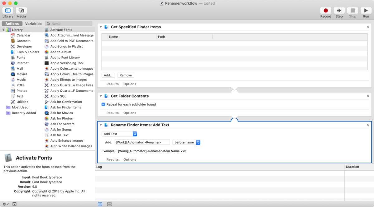 Screenshot of personal information management workflow