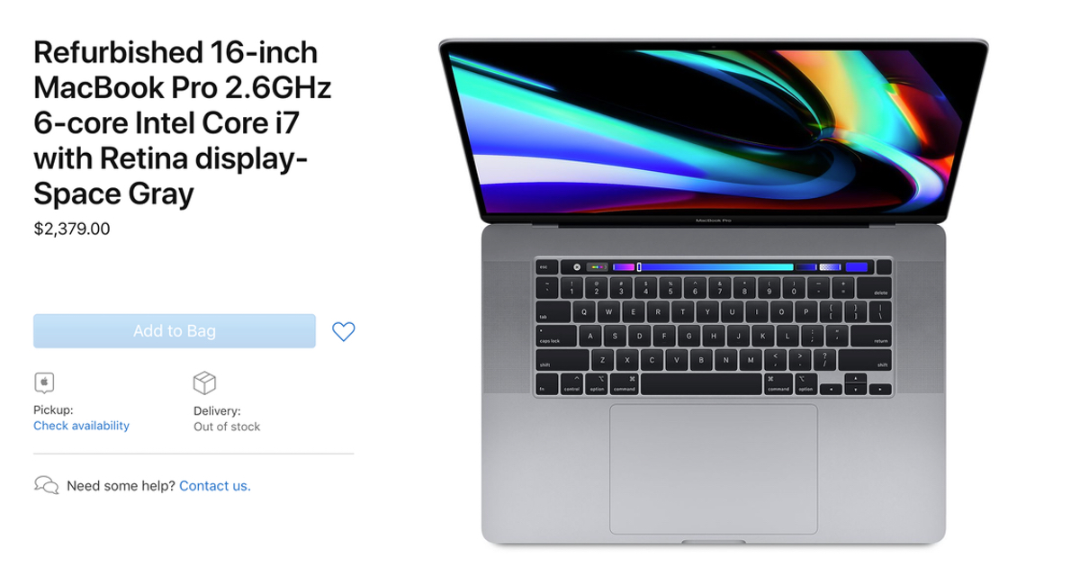 Apple now offering refurbished 16 inch MacBook Pro
