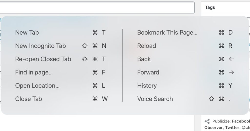 iPad shortcuts