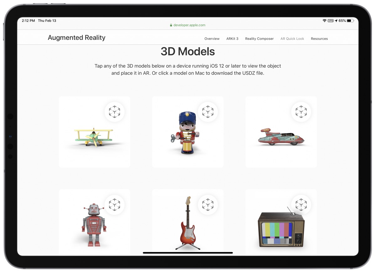 Screenshot of 3D models on AR quick look website