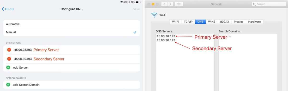 Using private DNS servers on iOS and macOS