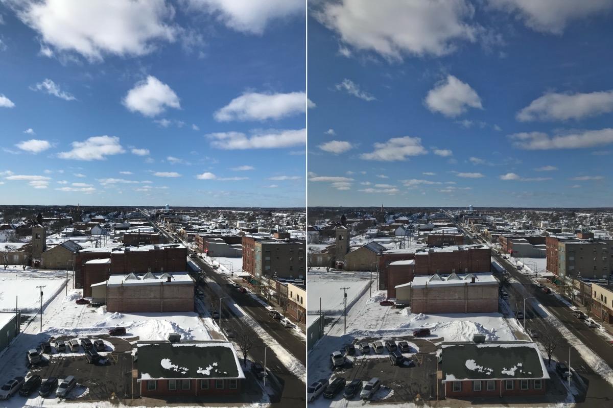 фотография, сделанная в режиме HDR, по сравнению с режимом без HDR.