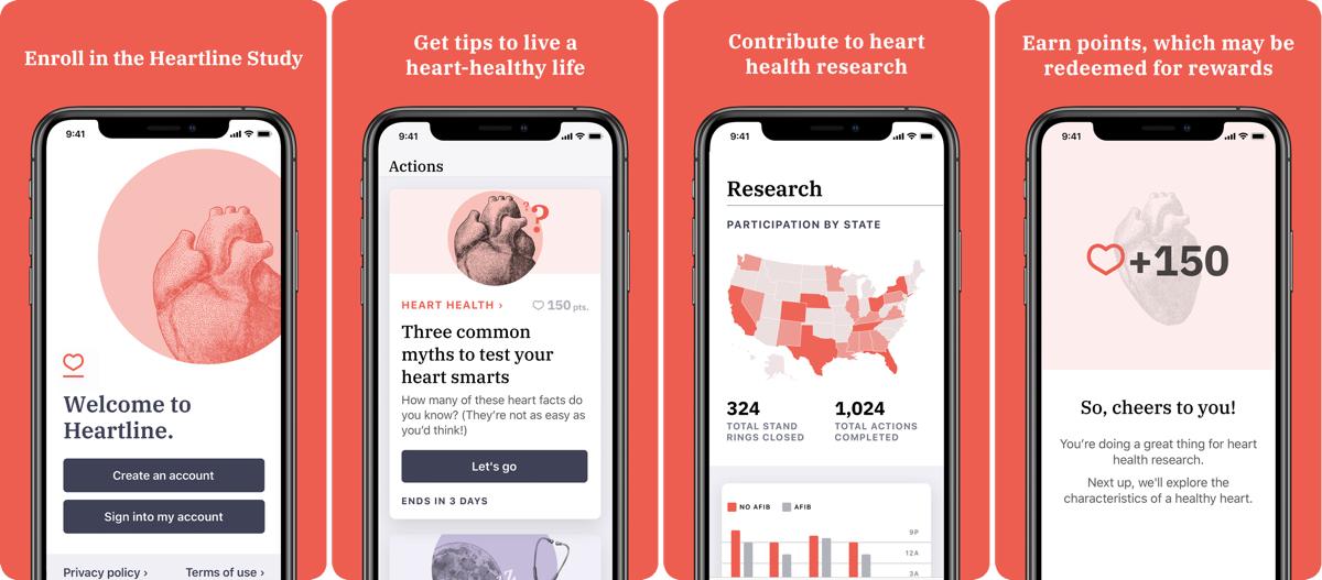 Screenshots of heartline study app.