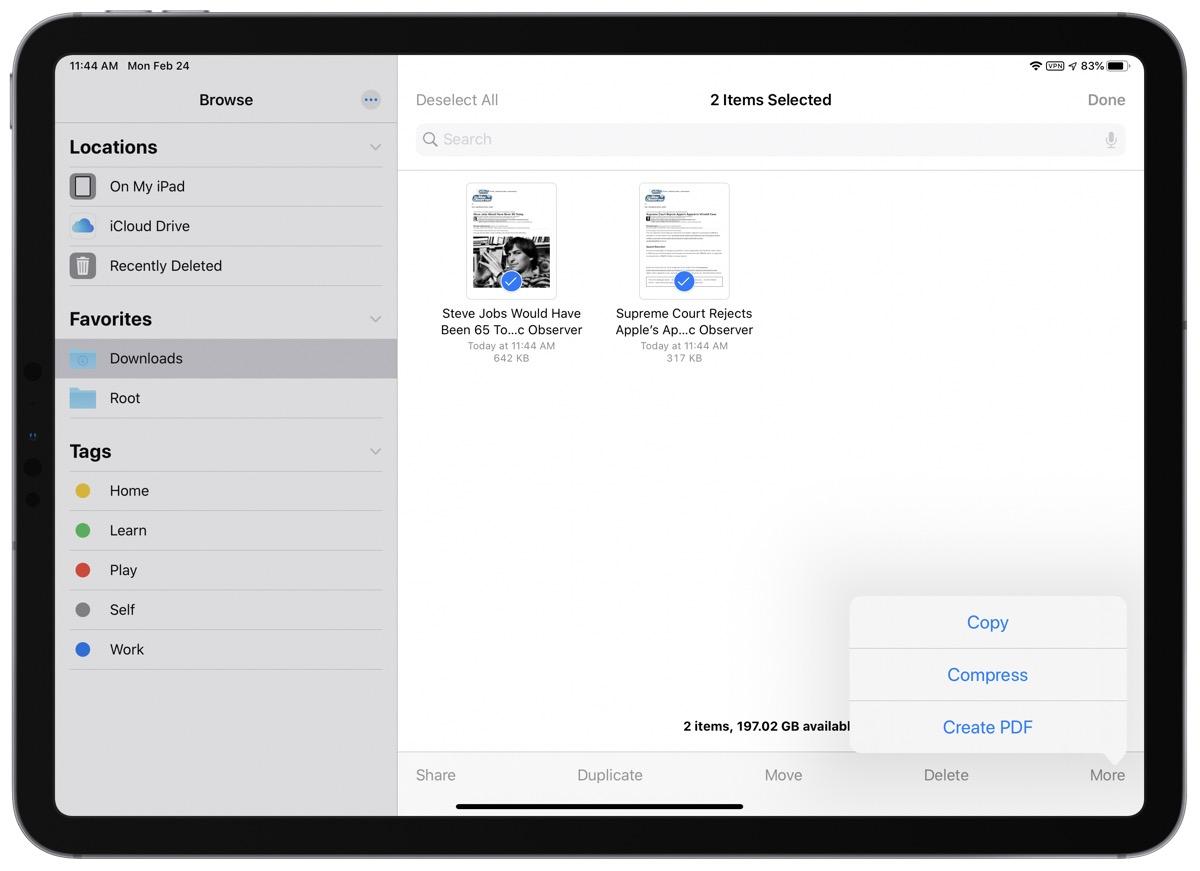 Merge pdfs on iOS screenshot