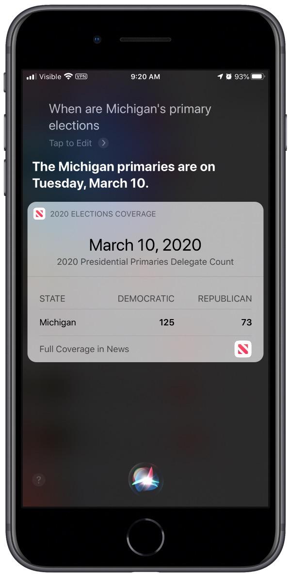 Screenshot of Siri election question