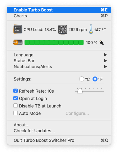 Enable or disable turbo boost from the menu bar.