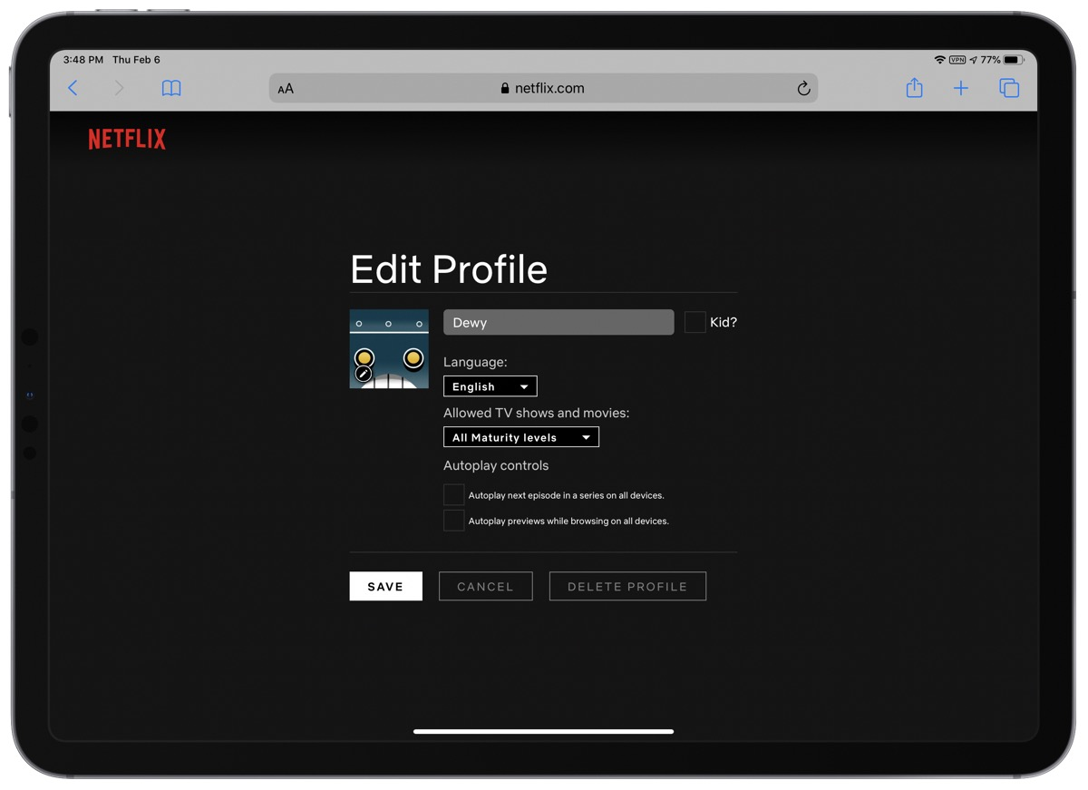 Screenshot of how to turn off netflix autoplay previews