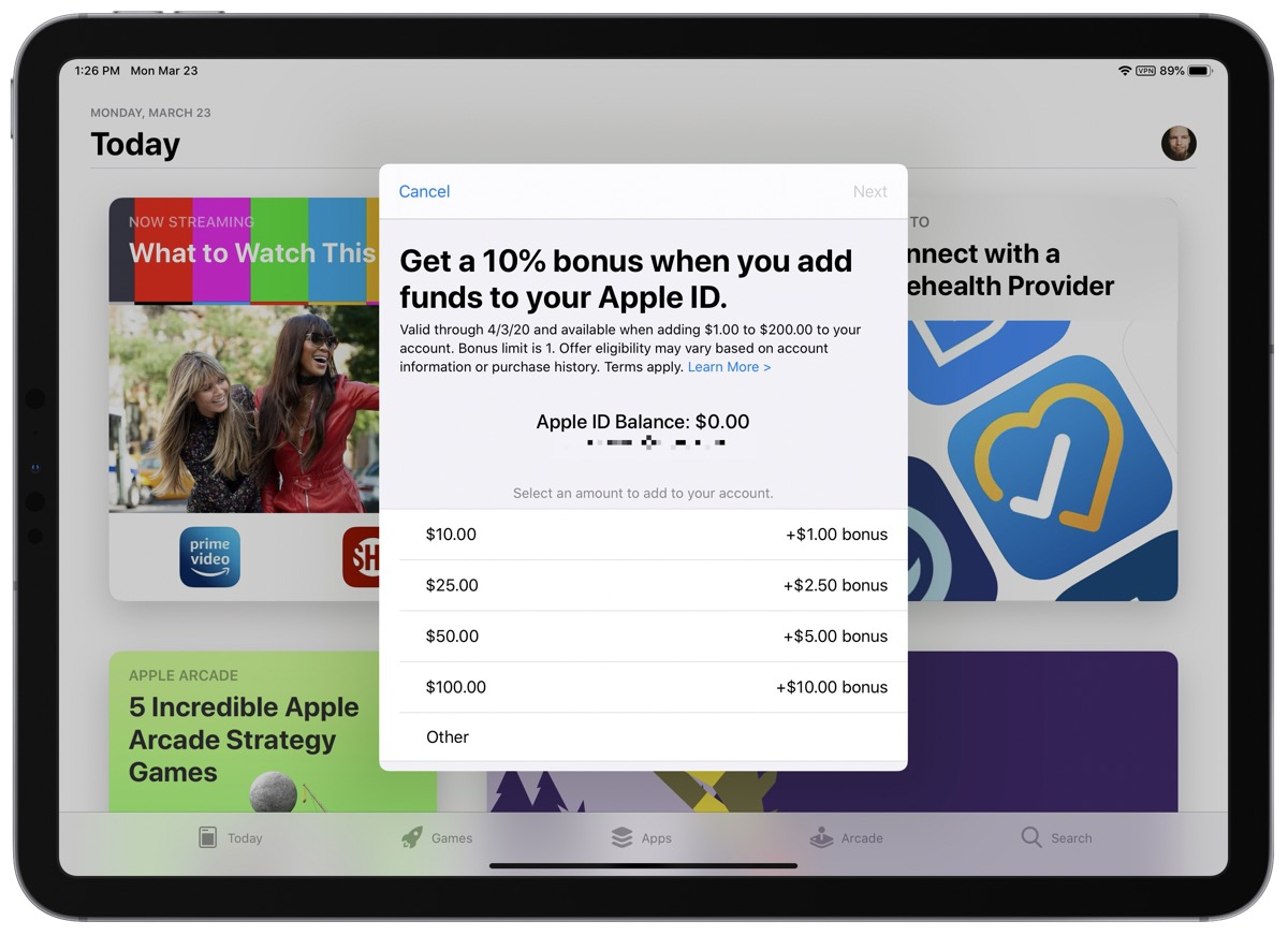 Screenshot showing you how to add funds to Apple ID