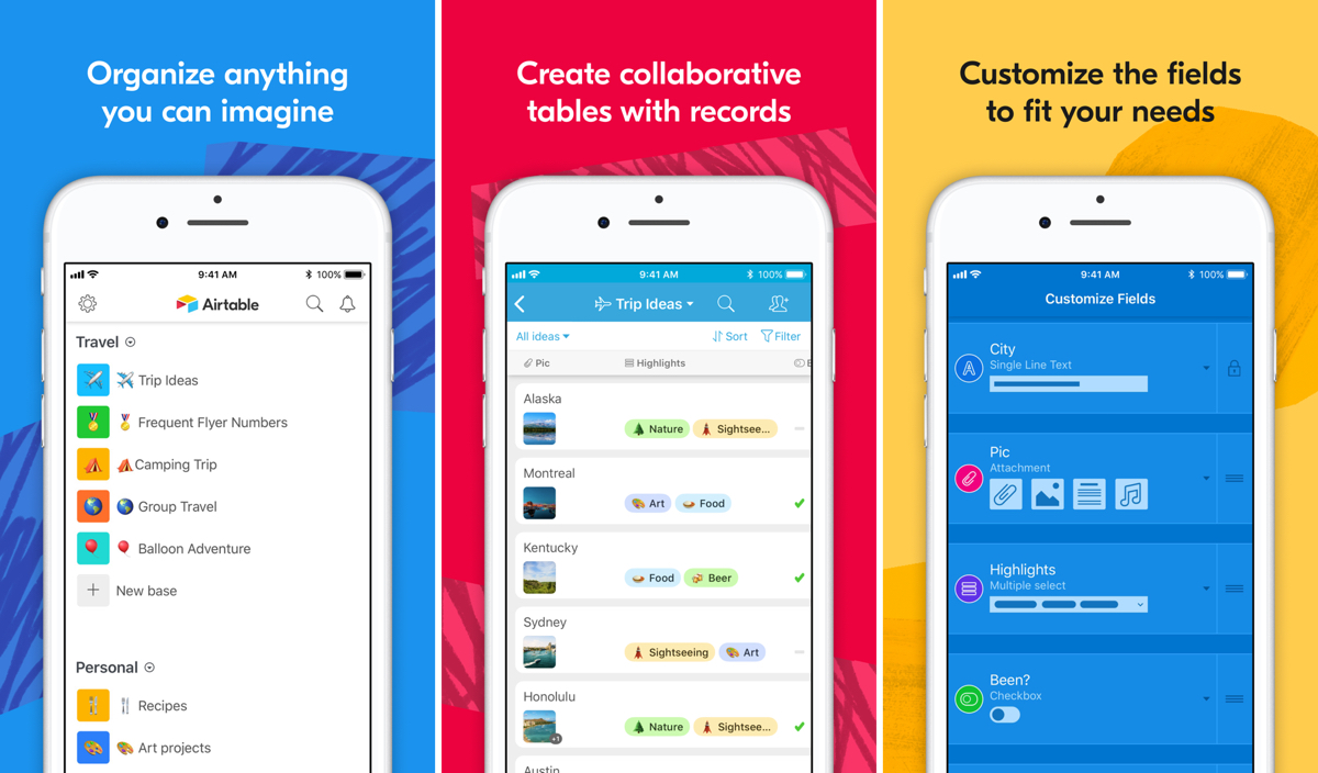 Screenshots of airtable in our list of productivity apps