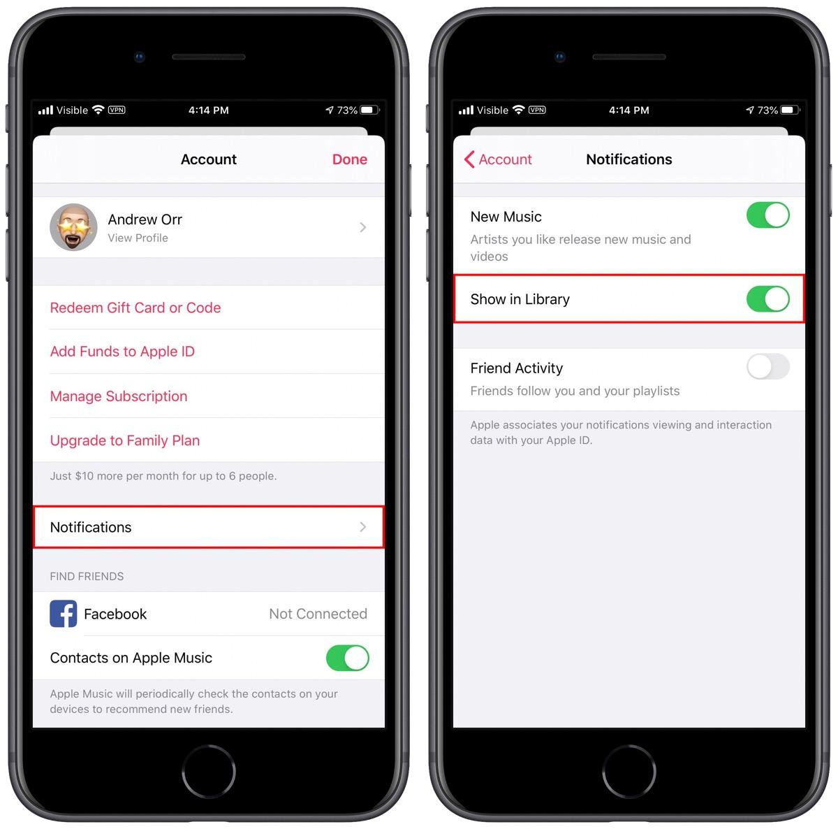 Screenshots of Apple Music's notification toggle