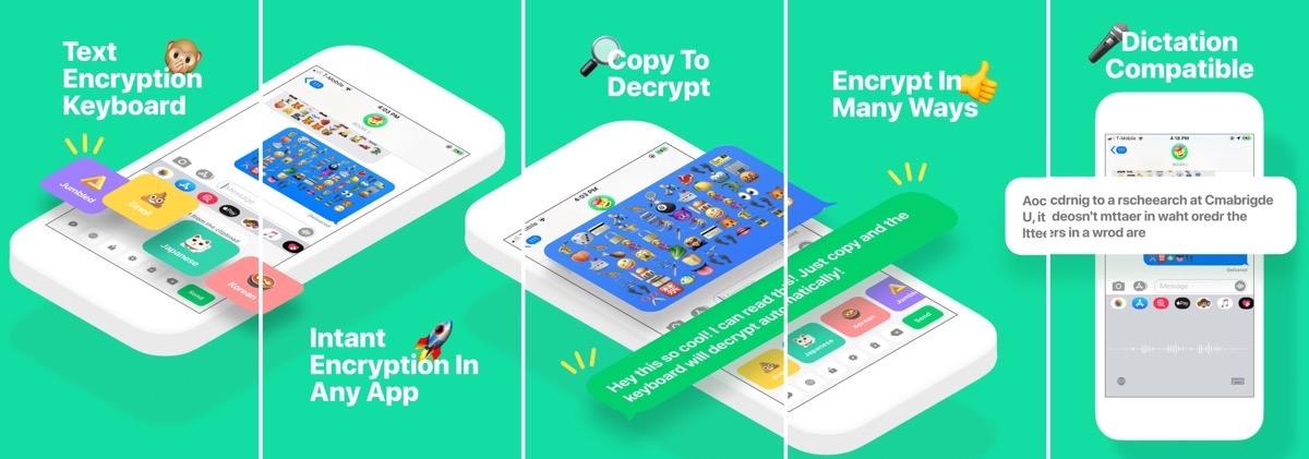 Screenshots of boom encryption keyboard