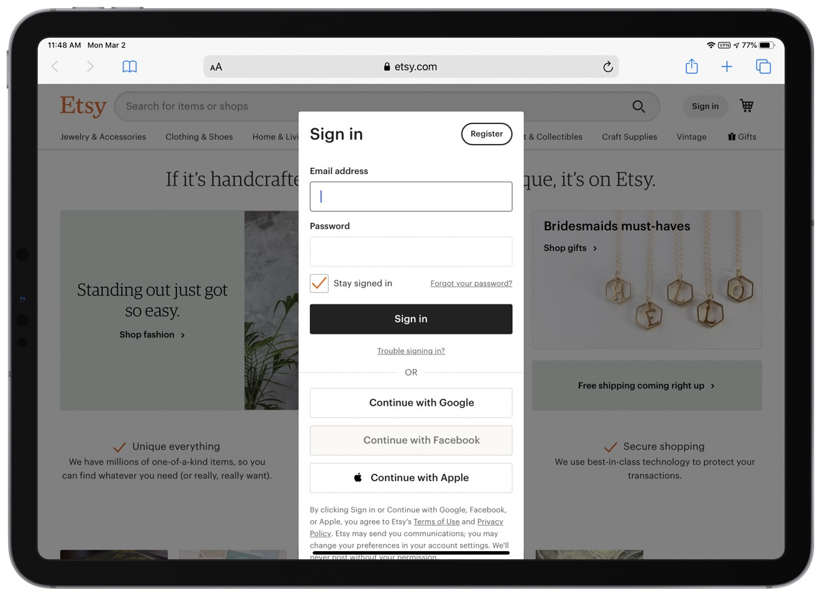 Etsy Gets Updated to Support Sign In with Apple