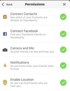 Houseparty app permissions page