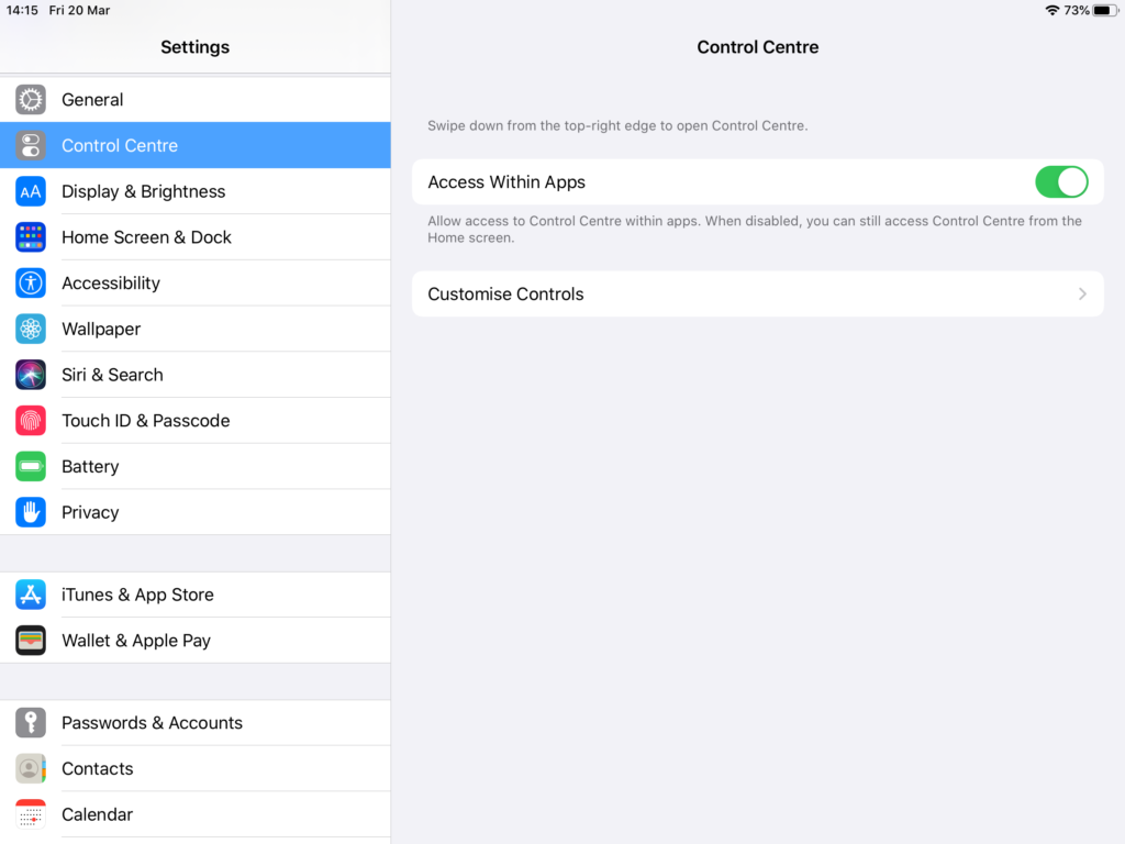 iPad Control Center in System Preferences