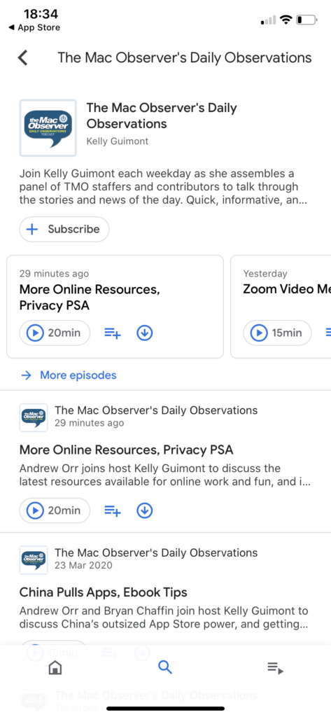 Googlge Podcasts search