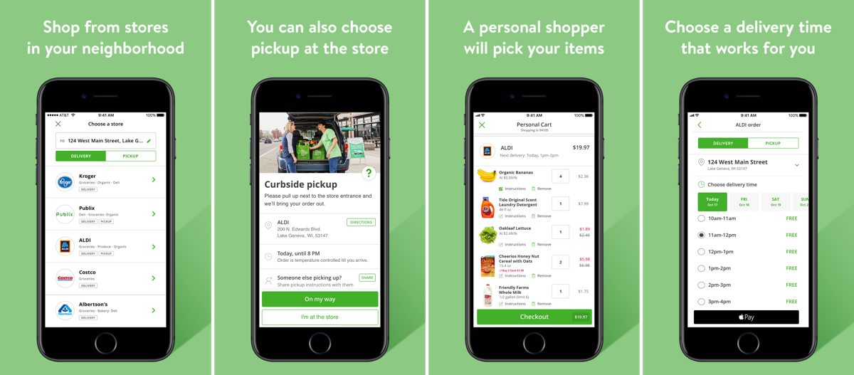 Screenshots of Instacart in our list of delivery apps