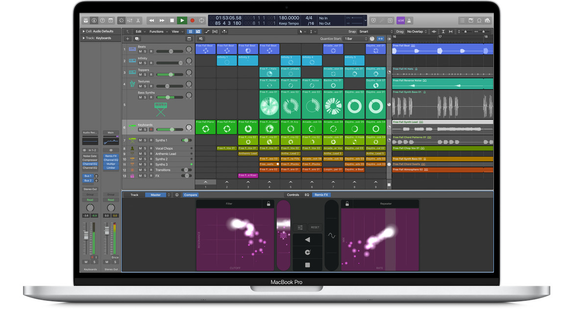 Screenshot of Live Loops on Logic Pro X