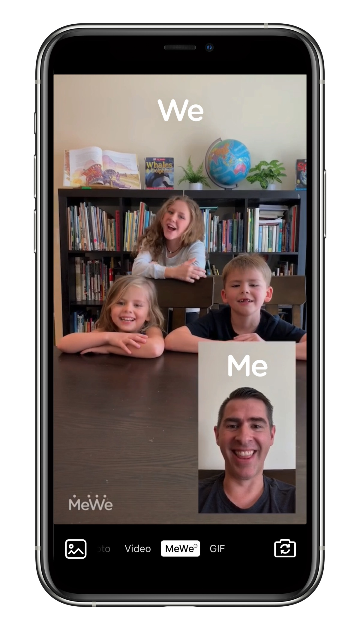 Screenshot of a mewe dual-camera video