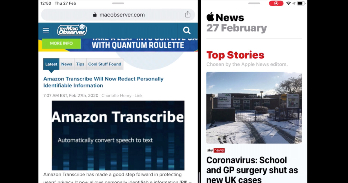 iPad in Split Mode with Chrome and Apple News open